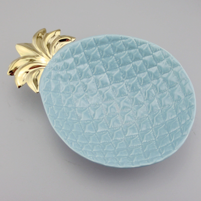 Tray And Dish Large Pineapple Ceramic Bowl Blue And Gold