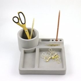 Cement Pencil Holder Stationary Organizer