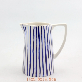 White and Blue Stripes Porcelain Cream Pitcher Water Pitcher